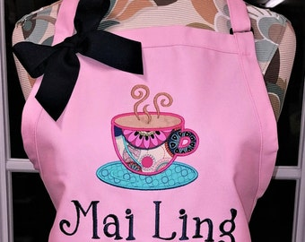 Personalized Apron Monogrammed Apron Coffee Cup Applique