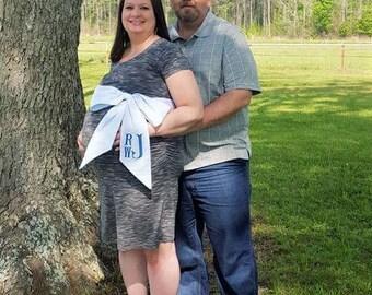 Swaddle Sash - Monogrammed - Maternity Sash - Embroidered Sash - Seersucker Sash - Pink - Blue - Personalized - Baby Shower - Photo Prop