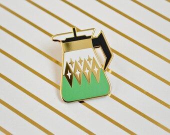 SECONDS SALE - Coffee Carafe Enamel Pin V2 - Seafoam Green - Pyrex Inspired - Retro - Lapel Pin - Cloisonne Pin - Hard Enamel - Coffee Lover