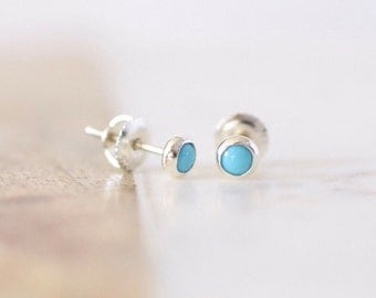 Sleeping Beauty Turquoise Childrens Earrings in Sterling Silver <> Screw Back Earrings for Children Little Girls Babies