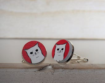 White Cat Cufflinks Cats Cuff Links Cat Cufflinks in White and Red Cat Lover