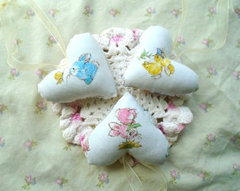 3 Little Bunny Heart Ornaments / Bunny And Butterfly On Nose / Bunny And Flowers / Pillow Hearts / Pink / Blue / Yellow / Jelly Bean Fabric