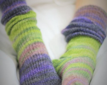 Hand Made Bed Socks   MOHAIR and SILK - KNEEHIGH  hand cranked and finshed - bedsocks -  undert the knee long socks- super soft and silky