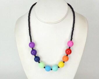Rainbow Necklace, Black, Glass Pearl Necklce, Chunky Necklace, Black Bead Necklace, Rainbow, Round Bead Necklace, Glass Bead Necklace