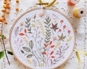 Modern hand embroidery, Embroidery kit - Autumn Leaves - Wall Decor, Hand embroidery, Diy kit