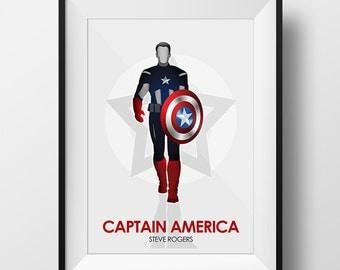 Captain America Avengers minimalist poster print