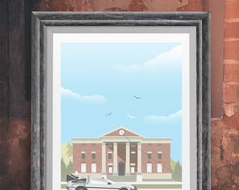 Back to the future Movie Poster- Delorean - movie poster, film poster, Hill Valley, clock tower, bttf trilogy