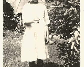 "Vintage Photo ""Parasol Pose"" Pretty Girl White Parasol Found Vernacular Photo"