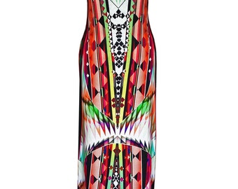 Cotton Maxi Dress, Plus Size Maxi Dress, Red Geometric Maxi Dress, Jersey Dress, Printed Dress, Summer Dress, Slimming Dress, Designer Dress