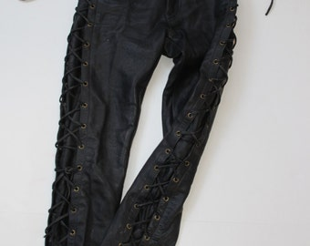 Black Leather Trousers-Skinny Leg Lace up High Waist Pants -Genuine Leather-Punk- leather leggings- Rockabilly -tie sides -spray on XS 24 W