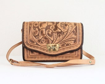 c1970's Tooled Aztec Leather Handbag
