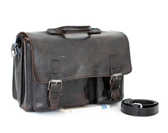 Black leather messenger bag vintage Ruitertassen