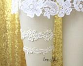 Ivory Lace Wedding Garter Set, Ivory Bridal Wedding Garter Set, Ivory Lace Garter Set