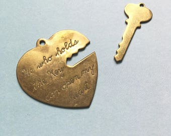 Vintage large brass 'He who holds the key can open my heart' heart and key two part set charms pendants