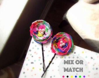 2 Colorful Pink Floral Bobby Pins, Tween Gifts, decorative Hairpins for Teen girl, Mini Hair Clip Barrette for Short hair Accessories Pearls