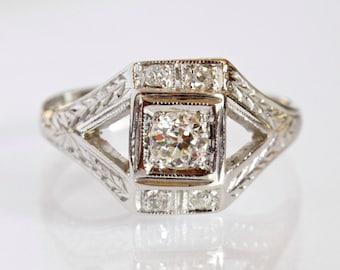 Art Deco .30ct Diamond Engagement Ring, 18k White Gold Antique Engagement Ring, Unique Engagement Ring, 1930s Diamond Engagement Ring