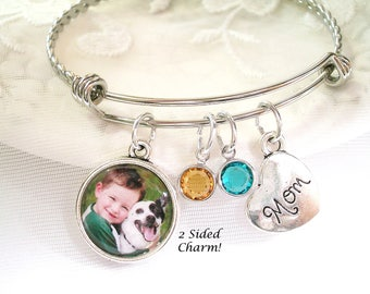 Photo Bracelet Photo Gift for Mom Grandmother Gift Mother's Jewelry Personalized 2 Sided Picture Charm Birthstone Bracelet for Wife Gift