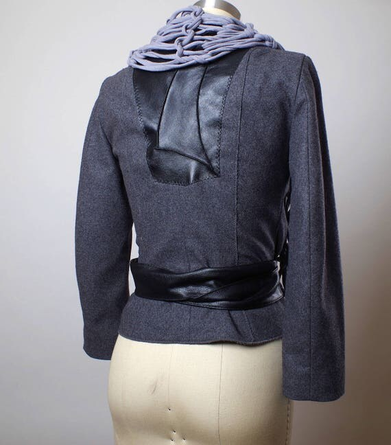 OOAK Women's Jacket - Women's Spring Jacket - Wool and Leather Jacket - Women's Jackets