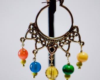 Golden Chandelier Glass Earrings