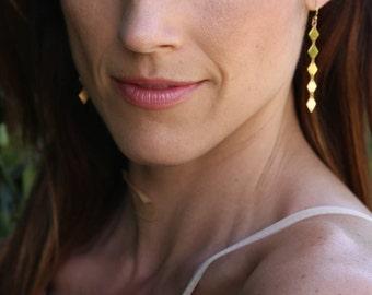 Gold Diamond Drop Down Earrings