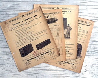 Vintage French Industrial catalogues/leaflets, 4 items. Collectable industrial ephemera to add to your collection, frame or for collage.