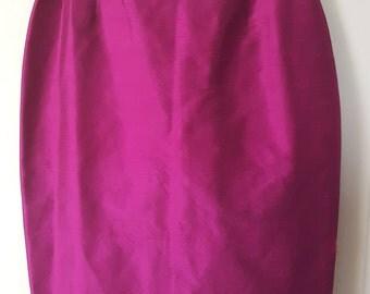 ELECTRIC MAGENTA SKIRT // Vintage 90'S Silk Pencil Skirt Wiggle Skirt Size 4 Mad Men Finity Studio Secretary