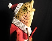 Vintage Hand Carved Wooden Trout - Wooden Santa Speckled Trout - Speckled Trout in Santa Costume - Hand Carved Wood Trout