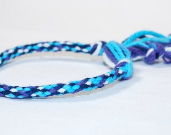 Childrens Bracelet Kumihimo Toddler Cotton Fibre Blue Purple  Kids Jewelry
