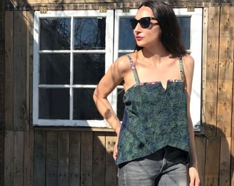 Blue-Green Midnight Tropics Tank - upcycled from men's shirt parts
