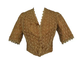 Vintage Victorian Bodice Handmade Lace Silk M