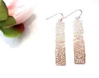 ROSE GOLD BAR Earrings, Net Gold Bar C