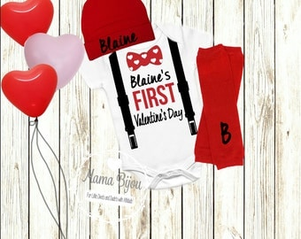 My First Valentineu0027s Day Baby Boy Clothes Outfit My 1st Valentineu0027s Day  Bodysuit Bow Tie Suspenders