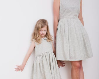 Tiny Leaves Print Matching Dresses - Mother and Daughter Matching Dresses - Mommy and Me Dresses - Matching Dresses-Handmade by OFFON