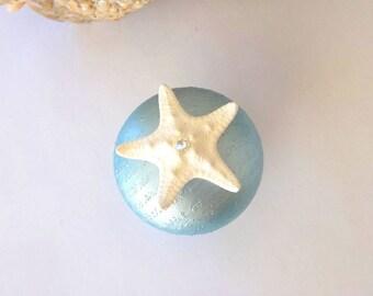 Starfish knob Cabinet / Door knobs pulls w Swarovski Crystals Beach Nautical Coastal Sea Ocean Decor Furniture hardware Pearlized Blue