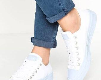 Custom Converse Low Top White Porpoise Sky Powder Blue Gum Wedding Bling w/ Swarovski Crystal Rhinestone Chuck Taylor II All Star Shoes