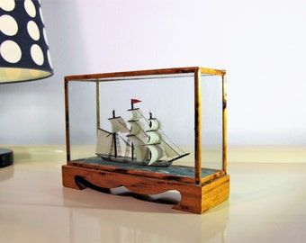 Vintage Ship Model in a box made of Bamboo Middle Size Ship Model