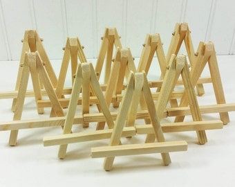 RESERVED for Laura Iacobet - 12 Small Wood Easels in Natural Wood