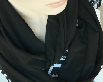 Black classical Infinity scarf, woman accessories