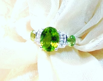 Peridot Ring or Engagement Ring in Platinum Handmade NorthCoastCottage Jewelry With White Topaz August Birthstone