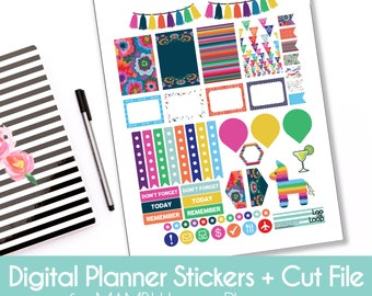 "DIGITAL Instant Download ""Fiesta"" Digital Planner Stickers for The Happy Planner PDF + JPEG for Cinco de Mayo"