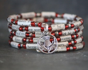 Outlander jewelry, Outlander gift, Outlander bracelet, book lover gift, book nerd gift, book bracelet, Scottish thistle bracelet, charm