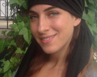 soft, stretchy, pretied head scarf, turban, hijab, bandana,