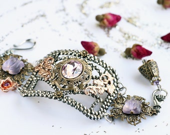 Amethyst Cuff - February  Amethyst Glass Victorian Inspired Cuff Bracelet, Antique Steel French Buckle with Filigree Accents and Tulips