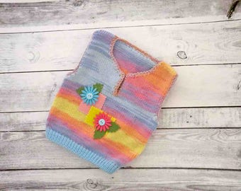 Baby girl knit vest, Baby girl knits, Knit baby clothes, Gift for baby shower, Baby knitwear, Baby girl clothing, Knitted baby top