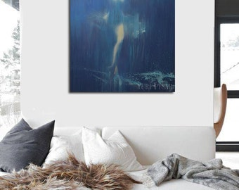 Abstract giclee print, Large wall art canvas, Teal modern print, Contemporary canvas art, Ballerina painting print