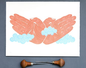Linocut print: Flying Without Wings