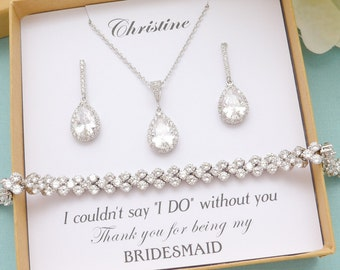 Bridesmaid Gift, Bridesmaid Jewelry Set, Personalized Bridesmaid Gift, Bridesmaid Earrings and Necklace Bracelet Set, Bridal Party Gifts