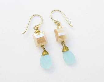 Light blue drop earrings with gold cream crystal and brass ear wires, wire wrapped earrings