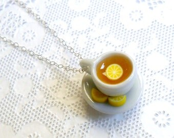 Lemon Tea Cup and Saucer with Lemon Slices Necklace, Food Jewelry, Choice of Sterling Silver, Stainless Steel, or Silver Plated Chain :)
