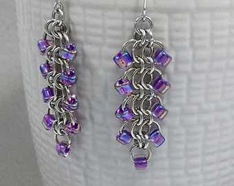 Beaded Chain Maille Earrings